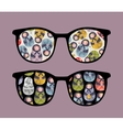 Retro sunglasses with dolls reflection in it vector image