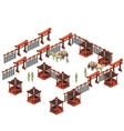 Scene creator Chinese pavilions soldiers carts vector image
