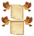 Set of flying birds cartoon with sheet of paper vector image