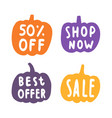 set of sale badges pumpkins silhouette vector image
