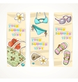Vertical summer banner with young people beach vector image