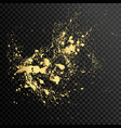 set of gold splash on black background vector image