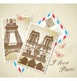 old vintage photos of Paris vector image vector image