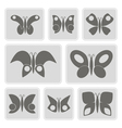monochrome icons with different butterflies vector image