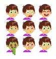 Boy emotion faces vector image
