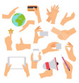 flat design of hand icons set concept of hand in vector image