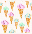 Ice creams cones pattern seamless print for vector image