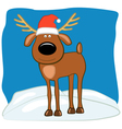 Christmas deer in a cap of Santa vector image vector image