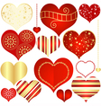 Isolated vintage hearts vector image vector image