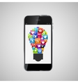 Glass Button Icon Set Lamp Idea on Mobile Phone vector image