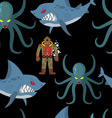 Diver in old diving suit and sea monsters seamless vector image