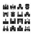 Castle icons Medieval walls and gothic vector image