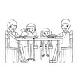 family smiling gathe sitting for dinner vector image