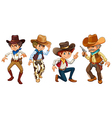 Four cowboys vector image