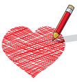 Vector illustration of pencil draws a heart vector image
