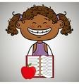 cartoon girl notebook icon vector image