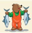 Bear fisherman vector image
