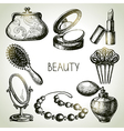 Beauty sketch icon set vector image