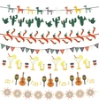 Hanging festive mexican banners flags garlands vector image
