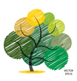 Color scribble tree symbol vector image