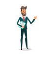 funny cartoon investor showing ok sign the vector image