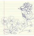 Notebook set with peony and pansy vector image
