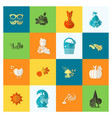 set of flat autumn icons vector image