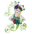 spring girl with flowers vector image