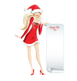 Beautiful girl dressed as Santa Claus vector image