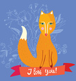 Love you card with fox and flowers - retro design vector image