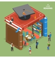 We love reading isometric flat concept vector image