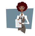 business woman pointing at document vector image
