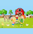children holding hands in circle in the farm vector image