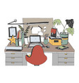 creative modern workplace with laptop hand drawn vector image