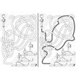 Happy kids maze vector image
