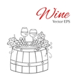 Red wine glass and white wine glass grapes on vector image