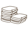 silhouette stack slices bread bakery food vector image