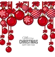 Red Christmas balls with ribbon and bows greeting vector image
