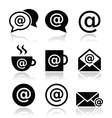 Email internet cafe wifi icons set vector image vector image