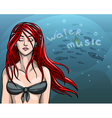 beautiful girl in a bathing suit with red long vector image