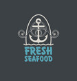 banner for fresh seafood with anchor and rope vector image