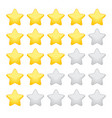 gold rating stars on white background vector image