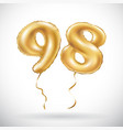 golden number 98 ninety eight metallic balloon vector image