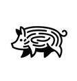 linear black drawing of swine vector image