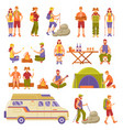 outdoor summer travel icons set vector image