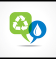 Waterdrop and recycle icon in message bubble vector image