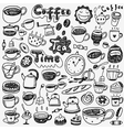 tea cups coffee doodles vector image vector image
