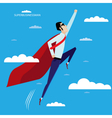 Superhero businessman flying in sky vector image