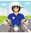 confident policemanriding motorcycle through city vector image