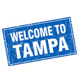 Tampa blue square grunge welcome to stamp vector image